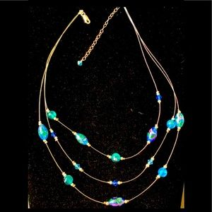 Illusion floral bead necklace on wire 925 st 16-19